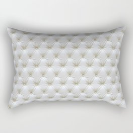Faux White Leather Buttoned Rectangular Pillow