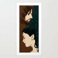 aragorn Art Prints featuring Arwen and Aragorn by cos-tam