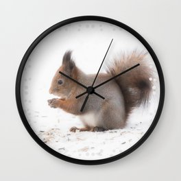 Squirrel And Lunch Pause Winter Scene #decor #society6 #buyart Wall Clock