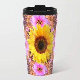 Western Style Burgundy Sunflower Art in Pink Travel Mug