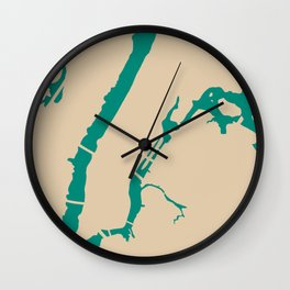 Manhattan NYC New York Minimalist Abstract in Mid Mod Beige and Teal Wall Clock