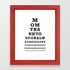 Mothers Day - Mom - Eye Test - Love you to the moon and back Framed Art Print