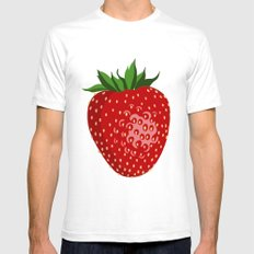 Strawberry Pattern Mens Fitted Tee White SMALL