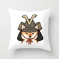 shiba inu Throw Pillows featuring Shiba Inu by FluffyMafi