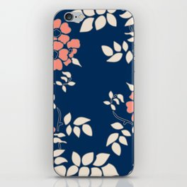 FLORAL IN BLUE AND CORAL iPhone Skin