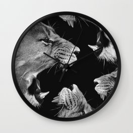 Lion B&W Wall Clock