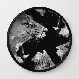 Lion B&W Wall Clock