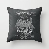 discworld Throw Pillows featuring DISCWORLD by Sofia Verger