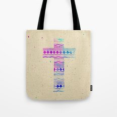 Pink Purple Aztec Pattern Cross Watercolor Paint Tote Bag
