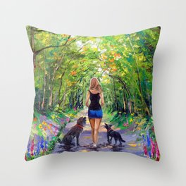 Walk down the alley Throw Pillow