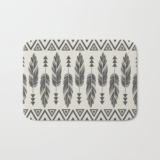 Tribal Feathers-Black & Cream Bath Mat