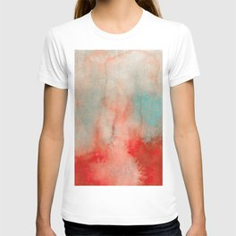 Abstract Watercolor Minimalist Rust Series - Untitled I orange turquoise marble T-shirt
