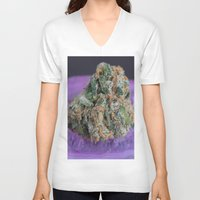 medical V-neck T-shirts featuring Jenny's Kush Medical Marijuana by BudProducts.us