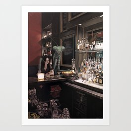 Woman and Praying Mantis at a Bar Art Print