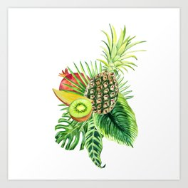 Tropic mix of watercolor leaves and exotic fruits. Art Print