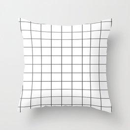 black grid Throw Pillow