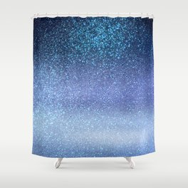 Navy Pastel Blue Triple Glitter Ombre Gradient Shower Curtain