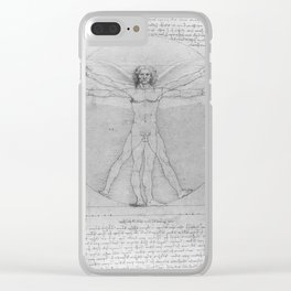 Leonardo da Vinci Vitruvian Man with Wings Study of Angels Clear iPhone Case