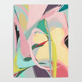 Shapes and Layers no.23 - Abstract Draper pink, green, blue, yellow Poster