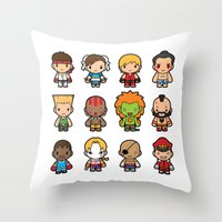 foo fighters Throw Pillows featuring The Fighters by Papyroo