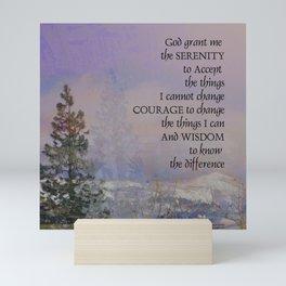Serenity Prayer Trees Hills Snow Mini Art Print