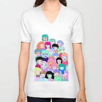 it crowd V-neck T-shirts featuring Crowd #2  by Milly Scarlett