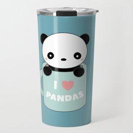 Kawaii I Love Pandas Travel Mug
