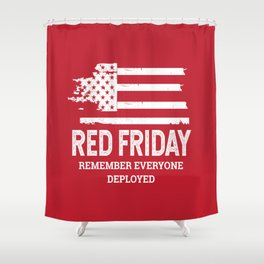 Red Friday RED American Flag Military Shower Curtain