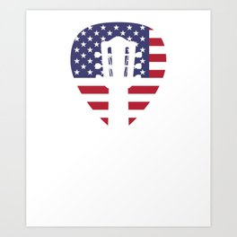 Patriotic Guitar Player print - American Flag And Guitar Art Print