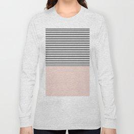 Half lines half soft pink Long Sleeve T-shirt