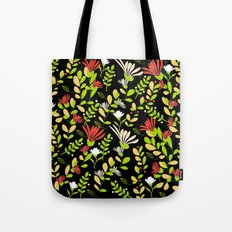 Abstract flowers with black background Tote Bag