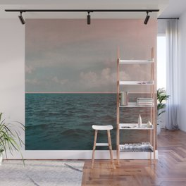 Turquoise Ocean Peach Sunset Wall Mural