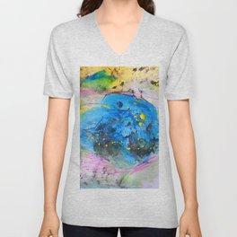 Rustic artistic abstract blue yellow pink watercolor brushstrokes Unisex V-Neck