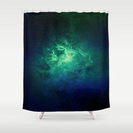 Green Nebula Space Shower Curtain