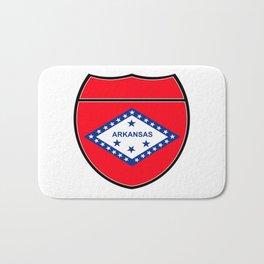 Arkansas Flag In An Interstate Sign Bath Mat