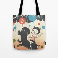 cartoons Tote Bags featuring Hurricane! by Miggy Borja
