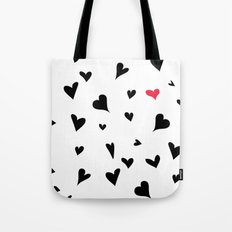 black hearts with one pink one  Tote Bag