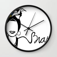 brasil Wall Clocks featuring Brasil by andiroses