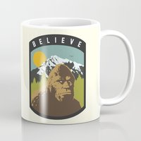 bigfoot Mugs featuring Bigfoot Patch by uhohreilly