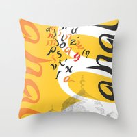 font Throw Pillows featuring Mahal Font by John Hernandez Art