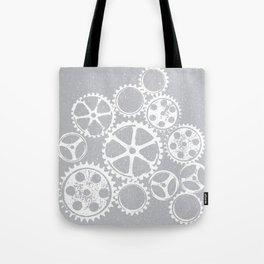 Old vintage rusty gears - white & gray Tote Bag