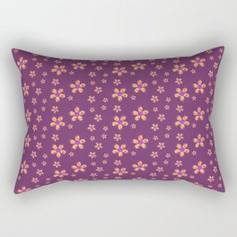 Yellow and Red Button Flowers on Purple Rectangular Pillow