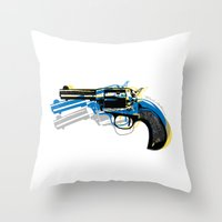 gun Throw Pillows featuring gun by mark ashkenazi