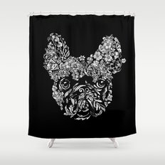Botanical frenchie Shower Curtain