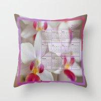 calendar 2015 Throw Pillows featuring Calendar 2015 Orchids by Lena Photo Art