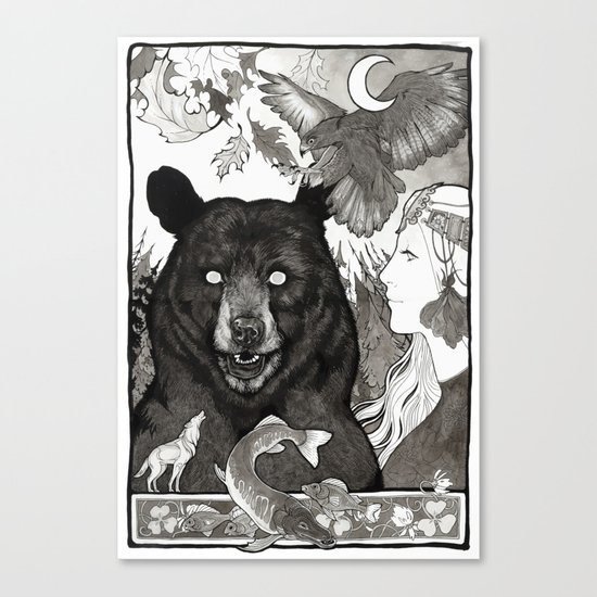 Bear, wolf, pike and falcon Canvas Print