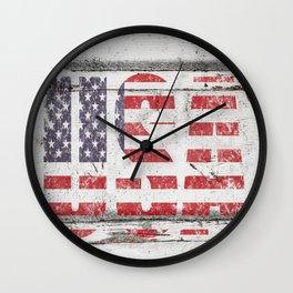 USA White Shiplap Wall Print Wall Clock