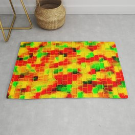 BRICK WALL SMUDGED (Reds, Oranges, Yellows & Greens) Rug