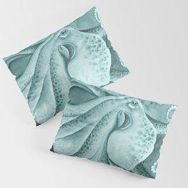 Cyan Green Octopus Tentacles Ink Watercolor Pillow Sham