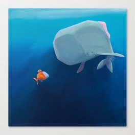 The little sperm whale and the fish Canvas Print